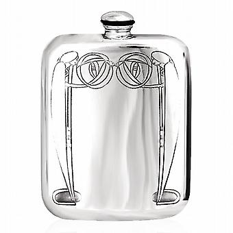 Charles Rennie Mackintosh Inspiré Pewter Hip Flask 6OZ