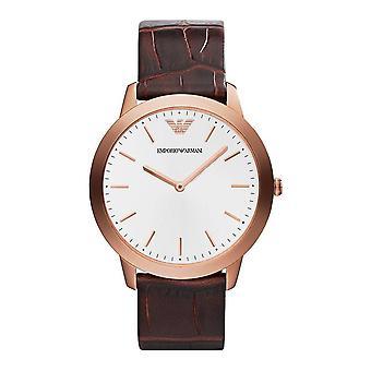 Emporio Armani Ar1743 Menâs retrò argento quadrante marrone orologio in pelle