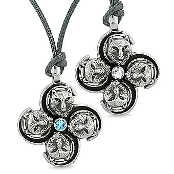 Supernatural Courage Wolf Amulets Love Couples Best Friends Sky Blue White Crystals Adjustable Necklaces