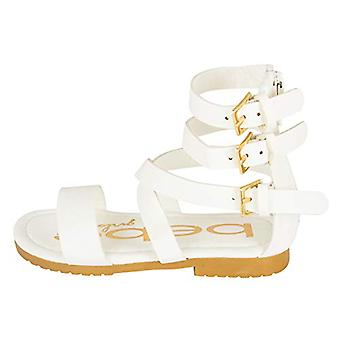 bebe Girls Toddler/Little Kid Wide Strap Flat Gladiator Sandals With Back Zipper And Buckles