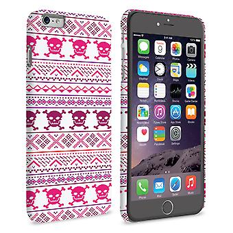 Caseflex iPhone 6 e 6s Plus Fairisle Case – Pink Skull White Background