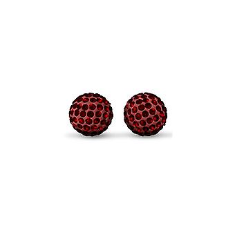 Jewelco London Ladies 9ct Gold Crystal Disco Ball Stud Earrings Garnet Scarlet Red 8mm