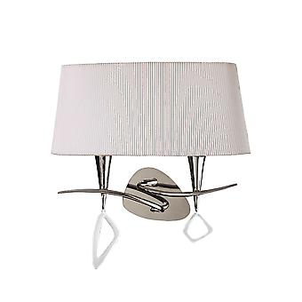 Mantra Mara Wall Lamp Switched 2 Light E14, Polished Chrome With Ivory White Shade