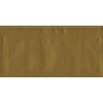 Gold Peel/Seal DL Coloured Gold Envelopes. 100gsm FSC Sustainable Paper. 110mm x 220mm. Wallet Style Envelope.