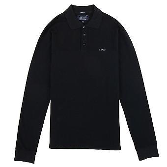 Armani Jeans AJ Eagle Logo Long Sleeve Polo Shirt Black