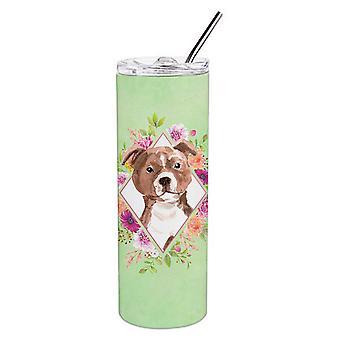 Staffie Bull Terrier Green Flowers Double Walled Stainless Steel 20 oz Skinny Tu
