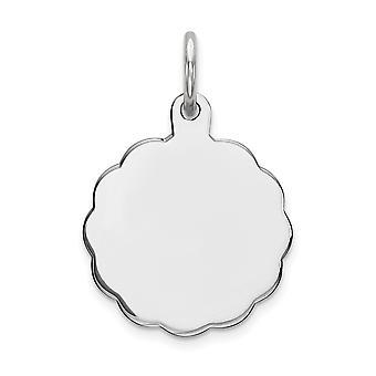925 Sterling Silber poliert gravierbare gravierte Scheibe Charme - .7 Gramm