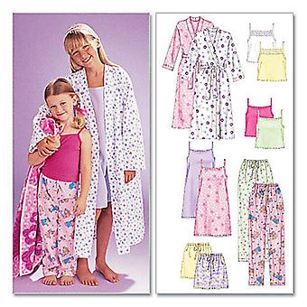 Children's Girls' Robe, Belt, Tops, Gown, Shorts And Pants  Z Med  Lrg  Xlg Pattern M6225  0Z0