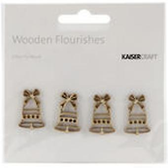 Wood Flourishes Mini Bells 4 Pkg Fl446