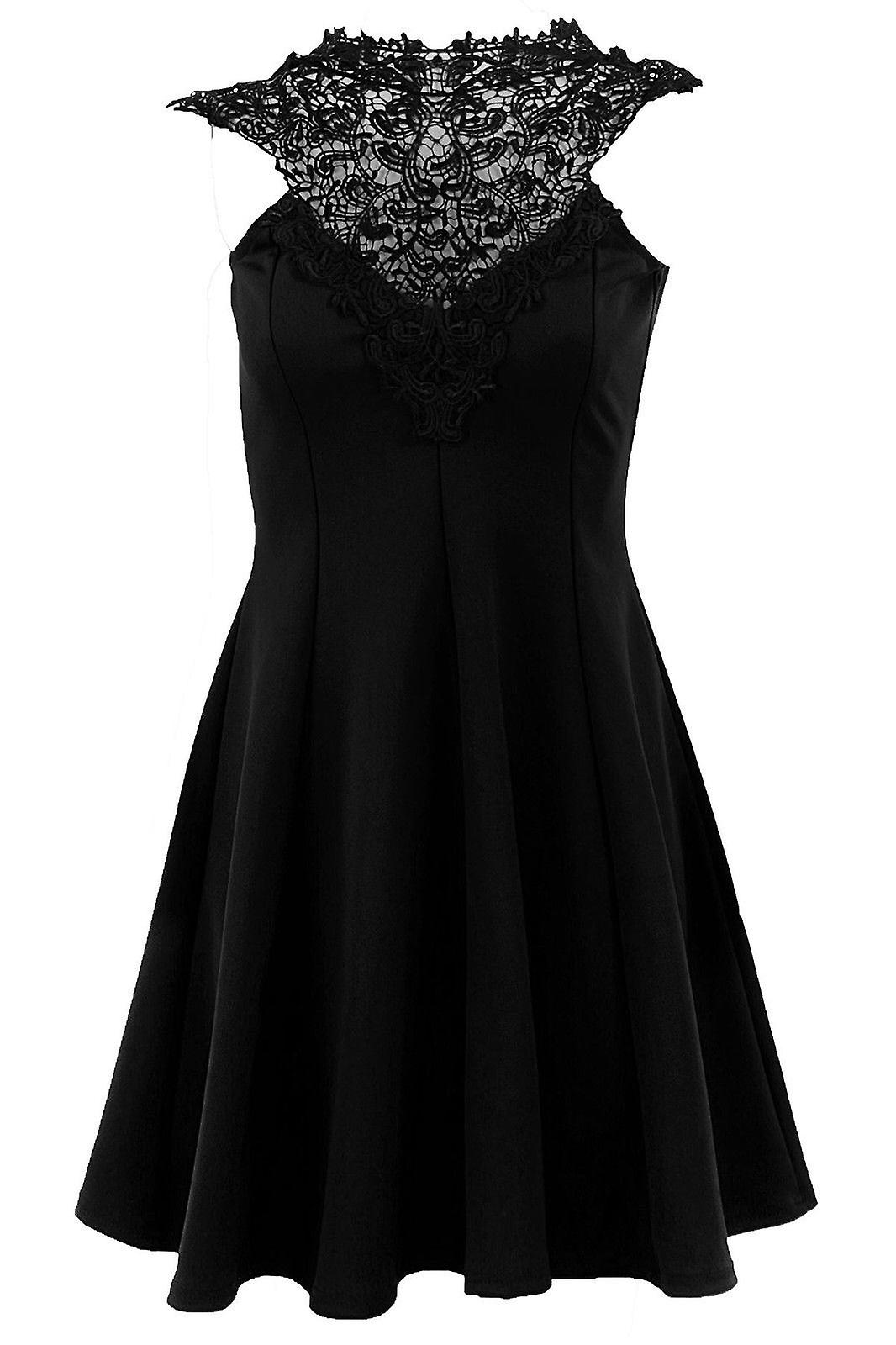 Ladies Sleeveless Crochet Trim Lace Neck Tie Back Women's Skater Party Dress