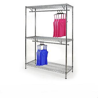 Wire Chrome Shelving Kit - 2 Tier Clothes Rail & 3 Shelves - CWCR107