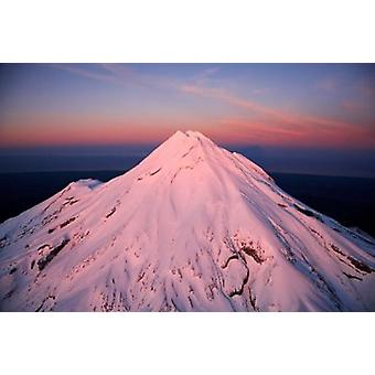 Mountain Alpenglow Taranaki Nordön nya Zeeland affisch Skriv av David Wall