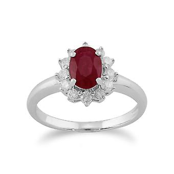 Gemondo 9ct White Gold 1.06ct Ruby & Diamond Oval Cluster Ring