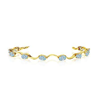 10K Yellow Gold Oval Aquamarine Curved Bar Bracelet