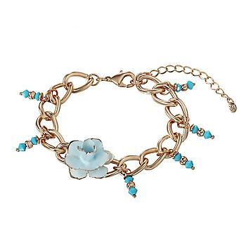 14K Gold Plated Link Chain Flower Bracelet, 19.5