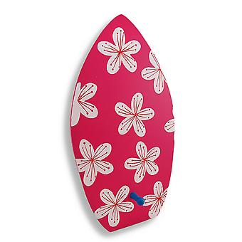 Wooden Surfboard With Flowers Decorative Wall Hook