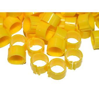 Clic ben Ring For voksne høns ekstra lys avle gul 12 mm 100pack