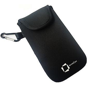 ベルクロの閉鎖とサムスンギャラクシー グランド ネオ プラス - 黒のアルミ製カラビナと InventCase ネオプレン耐衝撃保護ポーチ ケース カバー バッグ