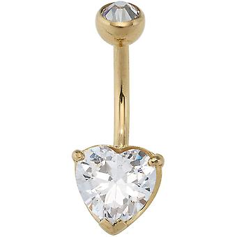 Stainless steel belly button piercing heart 2 cubic zirconia with gold of coloured PVD coating