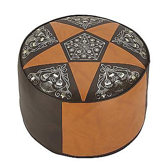 34 x 50 x 50 cushion stool furniture footstool Pouffe ORIENT Brown round leather