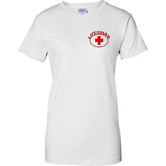 Socorrista Cruz - diseño de pecho de las señoras camiseta