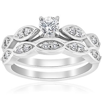 3/4ct Vintage Diamond Engagement Wedding Ring Set 14K White Gold