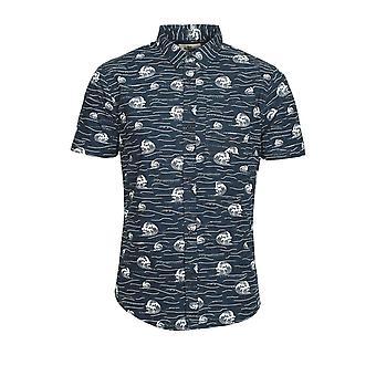 BELLFIELD Brava Short Sleeve Cotton Shirt | Navy