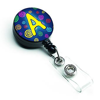 Letter A Monogram - Blue Swirls Retractable Badge Reel
