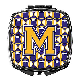 Letter M Football Purple and Gold Compact Mirror