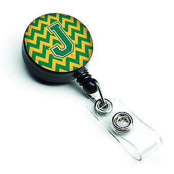 Letter J Chevron Green and Gold Retractable Badge Reel