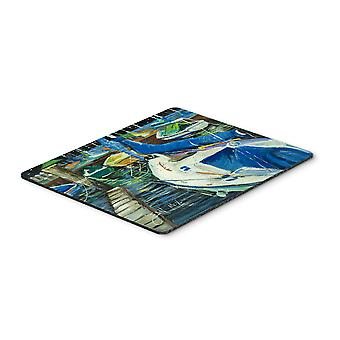 Night on the Docks Sailboat Mouse Pad, Hot Pad or Trivet