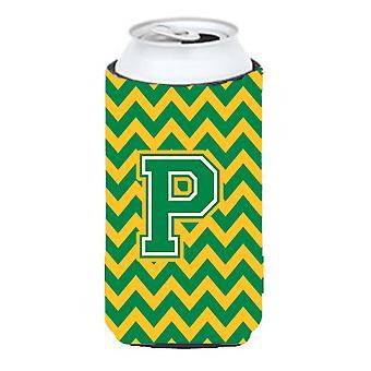 Letter P Chevron Green and Gold Tall Boy Beverage Insulator Hugger