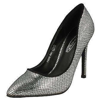 Ladies flekk på høy hæl pekte Toe slange Design Court sko F9590