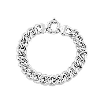 Fine Sterling Silver 925 Gents Mens Curb Cuban Solid Chain Heavy Chunky Bracelet Width 14mm