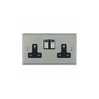 Hamilton Litestat Hartland Bright Stainless Chrome 2g 13A DP Switched Socket BC/BL
