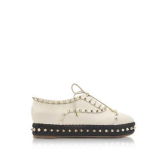 Charlotte Olympia P175296110 ladies beige leather lace-up shoes