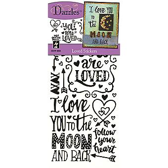 Dazzles Stickers-Loved, Black & Clear Foil DAZ-2605