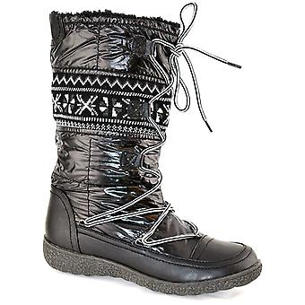 Ladies Womens Winter Fur Lined Snow Ankle Mid Calf Lace Up Boots Shoes