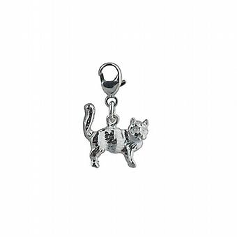 Silver 21x13mm Cat Charm on a lobster trigger