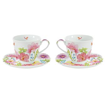 Stow Green Watercolour Set of 2 Cups and Saucers