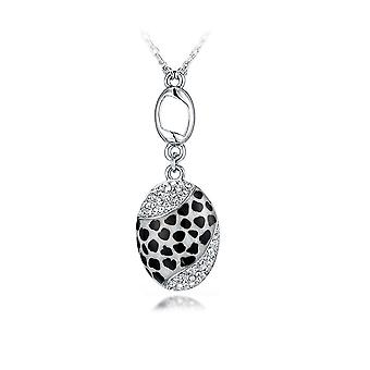 Abalone Leopard pendant adorned with Rhodium-plated white Swarovski crystals