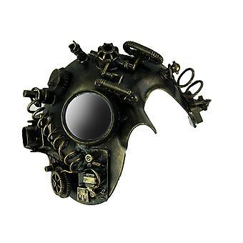 Metallic goud Steampunk Phantom volwassen kostuum masker