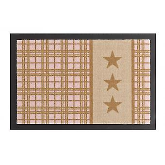 Felpudo suciedad reventado cojín estrellas Plaid color beige rosa 40 x 60 cm