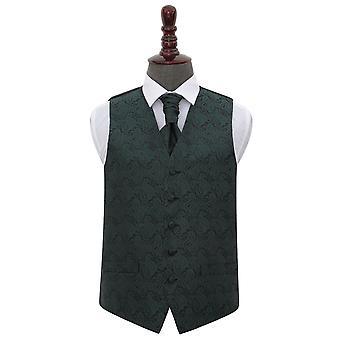 Paisley verde esmeralda casamento colete & Cravat conjunto