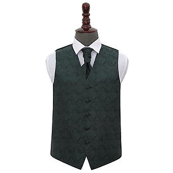 Emerald Green Paisley Wedding Waistcoat & Cravat Set