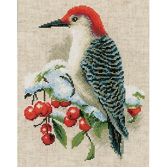 Red Woodpecker On Aida Counted Cross Stitch Kit-8