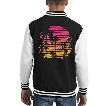 Tropical Sunset Palm Trees Kid's Varsity Jacket
