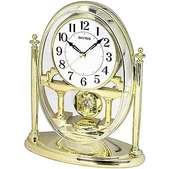 Table clock quartz desk clock with pendulum rhythm housing gold
