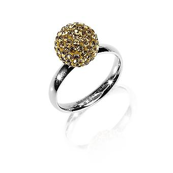 MANUEL ZED - Stainless Steel Rhinestone Ring - Golden - G2066 0018 18