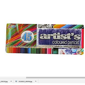 Grafix Artist's Coloured Pencils Pack of 45 With Presentation Metal Tin